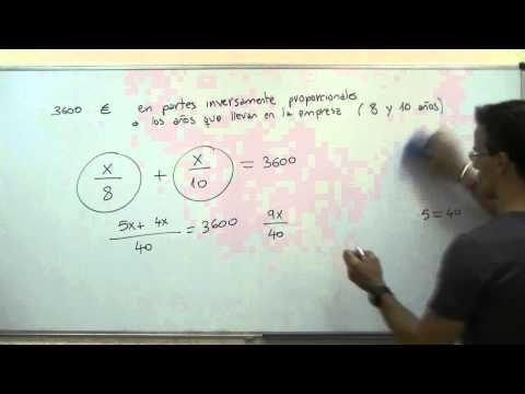 Reparto Inversamente Proporcional 2º Eso Unicoos Proporcionalidad Inversa Matematicas Tema