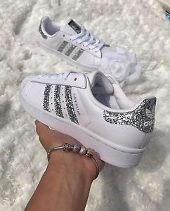 Adidas Superstar White Metallic Silver Glitter Womens Trainers ...