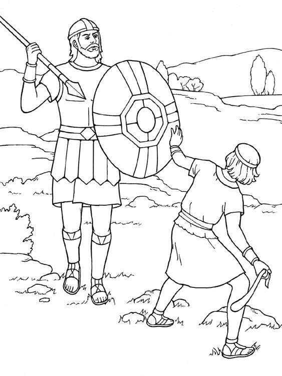 David And Goliath Coloring Page Printable K5 Worksheets David