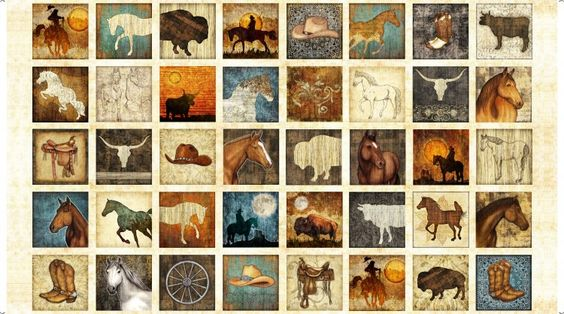 Quilting Treasures Unbridled 24690-E 4 1/2inch Western Themed Squares Panel