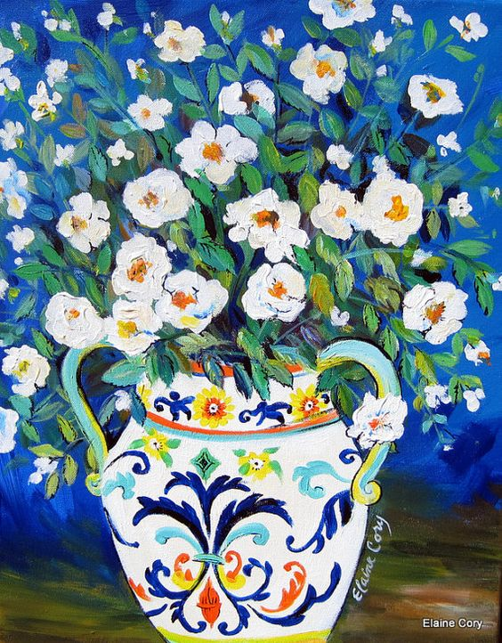 Venetian Vase Still life Original Painting 16 by ElainesHeartsong