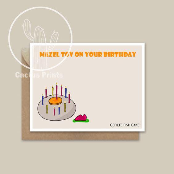 Digital Jewish cards, Jewish Birthday Card, Jewish Holidays Card, Birthday Card, GEFILTE FISH