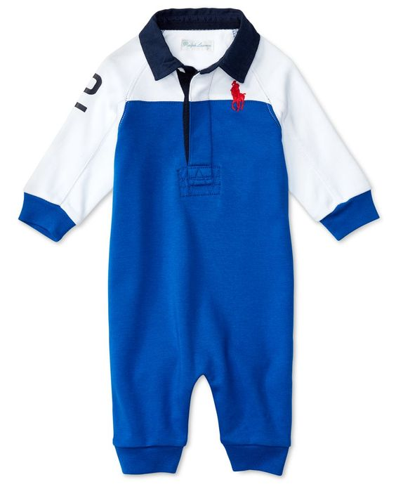 Ralph Lauren Baby Boys' Colorblocked Polo Coverall