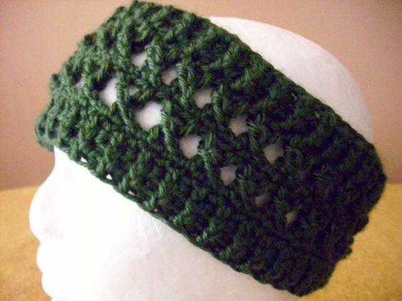 Crocheted Green / Hunter Green / Dark Green / Ear Warmer / Head Warmer ...