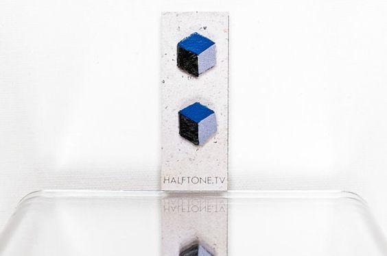 Periwinkle Necker Cube Earrings  Impossible Object Jewelry, $9.00