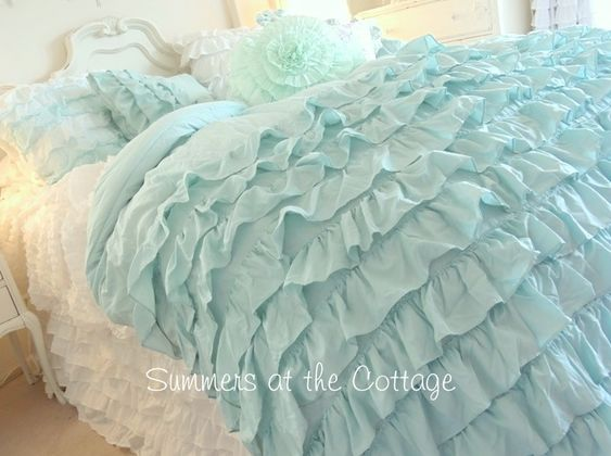 shabby chic bedding shabby cottage chic layers of dreamy aqua teal ruffles comforter set blue shabby chic bedding
