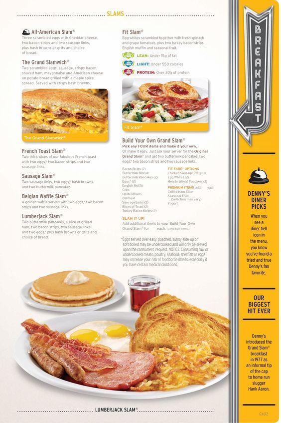 Denny s slams menu menu design pinterest for X cuisine miri menu
