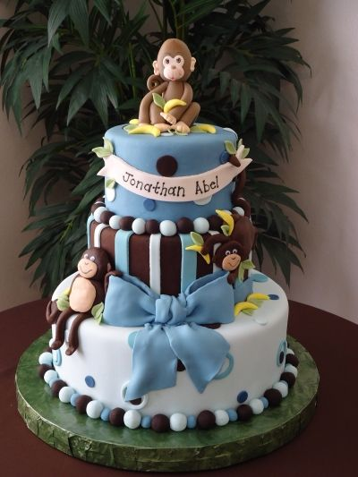 Boy babies boy baby shower cakes and boy baby showers on pinterest - Baby shower monkey decorations for a girl ...