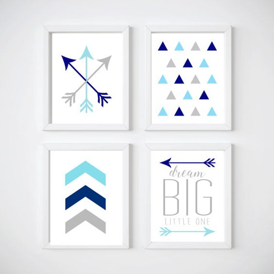 8x10 Arrow  Tribal  Navy & Teal Nursery Prints: by TheSouthernAge