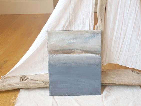 abstract seascape on canvas by Michele Ranard #hellolovelystudio #hellolovely #seascape #greige #Maine #driftwood sailboat: