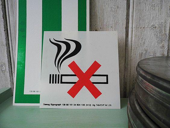 Vintage Blechschilder - Rauchen verboten - Schild - industrial - ein Designerstück von Gerne_wieder bei DaWanda