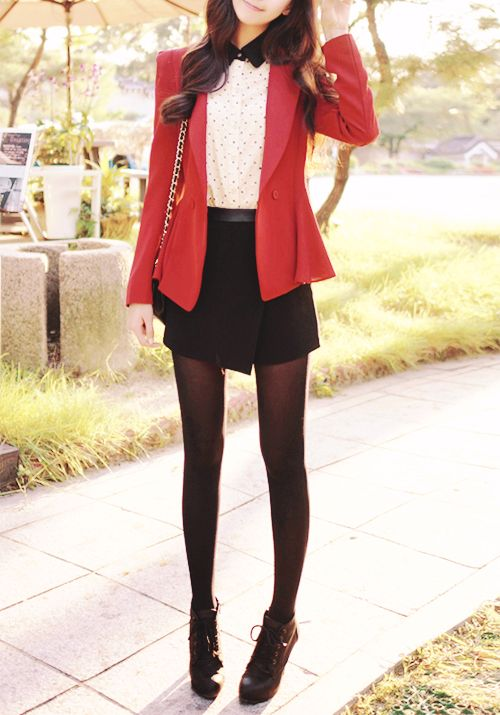 red blazer with black skirt