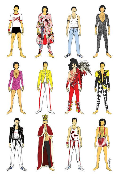 The Many Outfits Of Freddie Canvas Art Print by Notsniw Art