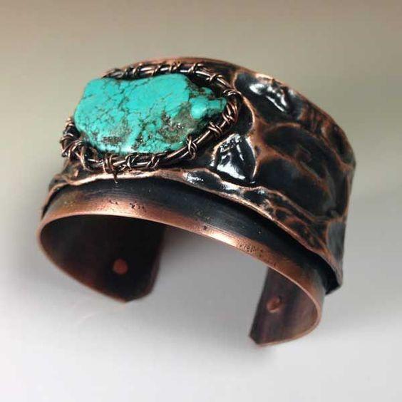 turquoise gemstone copper bracelet b0145 copper