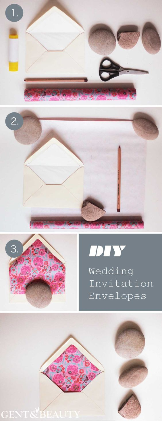 DIY Envelope liners are the perfect way to spice up envelopes as well as a costcutting way to achieve chic and stylish invitations and thank you cards.