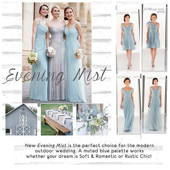 New Evening Mist color for bridesmaid dresses from Sorella Vita by Essense of Australia. #eveningmist #bridesmaid #bridesmaiddress #newbraunfels #celebrationsbridal #sorellavita #sorellavitabridesmaids #essenseofaustralia #bluepalette @essenseofaustralia