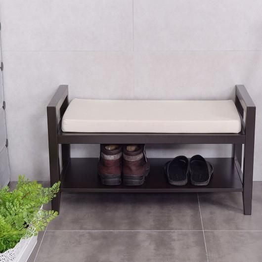 This Shoe Rack Stool Has Two Tiers On Which You Can Not Only Put