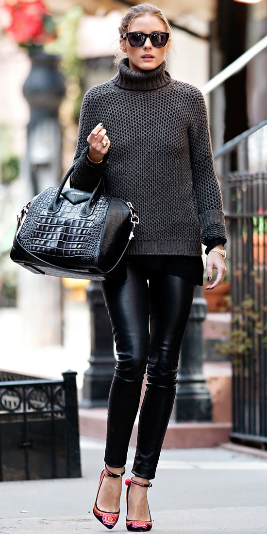 Olivia Palermo strolled N.Y.C. in a chic ensemble that included a chunky sweater, leather leggings, convertible Givenchy tote and embroidered ankle-strap heels.:
