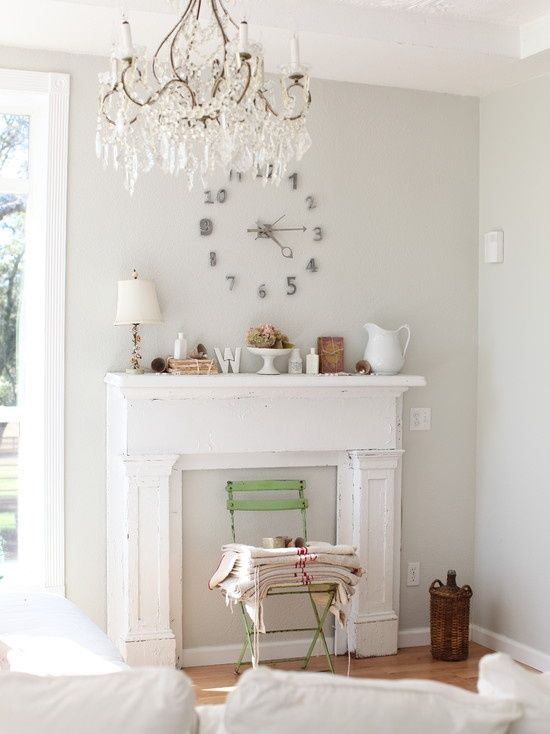 shabby chic shabby clock living room interior room interior fireplace ...