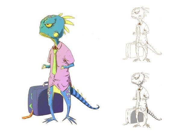 02 - Lizardman needs vacation, Denis Assakawa on ArtStation at http://www.artstation.com/artwork/week-02
