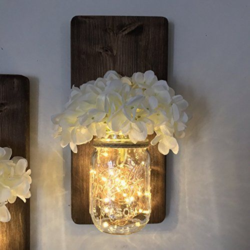 Set Of Two Lighted Sconces Country Rustic Mason Jar Wall Sconce Hanging Lantern Led Fairy Lights And White Hydrangea Sprays Fairylights Mason Jar Wall Sconce Mason Jar Decorations Rustic Mason Jars