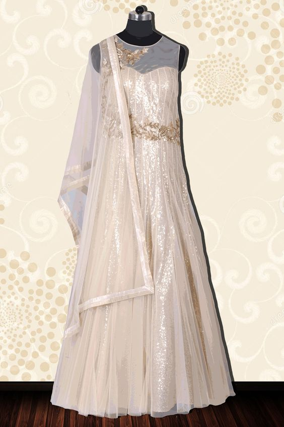 Beige floor length sleeveless embroidered Western Gown with jewel neck -SL3916 #beige #indowestern #embroidered #gown #jewel #neck #design #latest #exclusive #exclusive #newarrival #nice #beautiful #alluring #lovely #designs #partywear #partydress #casual #collections