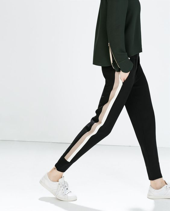 ZARA - WOMAN - COMBINATION TROUSERS WITH CUFFED HEM:
