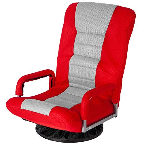 Delightshop19 Gaming Chair Adjustable 7position Swivel Video Floor Chair Folding Sofa Living Room Lounger Red Gaming Chair Folding Sofa Soft Flooring