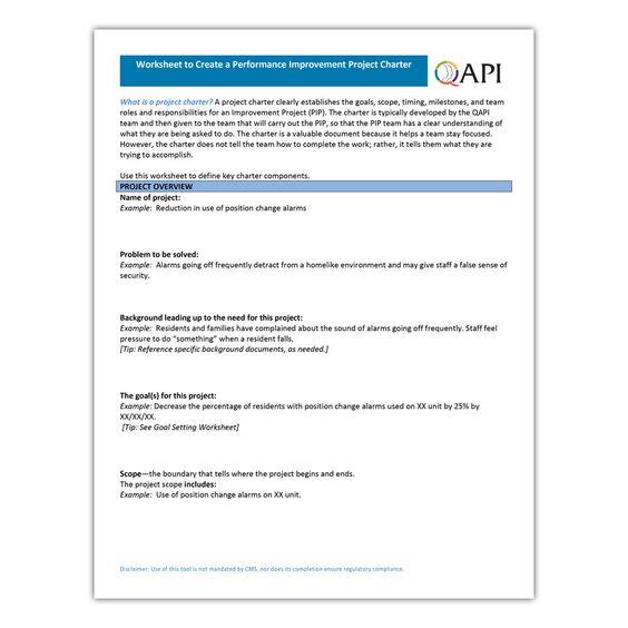 Pip Charter Worksheet Atom Alliance Project Charter Define Project Nursing Education