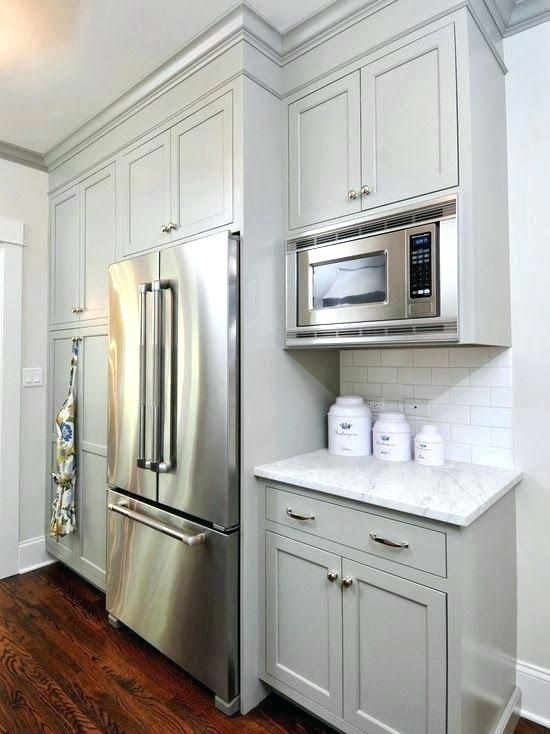 Upper Cabinet Depth Microwave Kitchen Remodel Small Painted