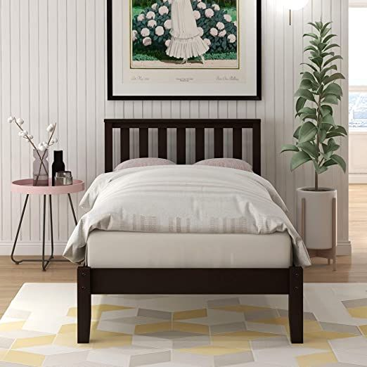 Twin Bed Wood Platform Bed Frame With Headboard And Footboard No Box Spring Needed Espress Wood Platform Bed Frame Bed Frame And Headboard Wood Platform Bed Twin bed frame with headboard and footboard