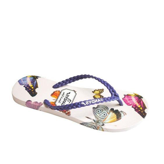 Gandys Women's Broken Butterfly Flip Flop in Purple