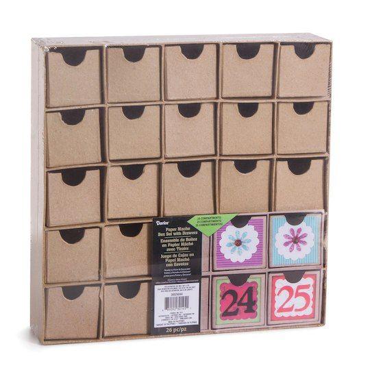 Papierdrachen DIY Advent calendar box set 24 colorful boxes to set up and fill with surprises pink