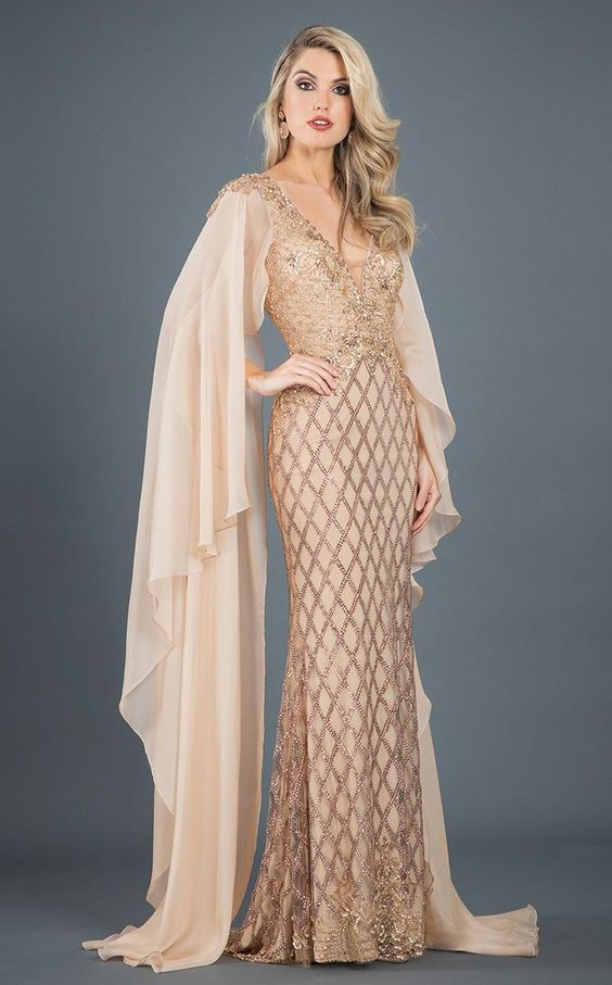 Vintage Evening Dresses and Formal Evening Gowns Rachel Allan 8281 Evening Dress Long V-Neck Sleeveless in NudChampagne