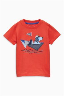 Next Red Dog In Boat Appliqué T-Shirt (3mths-6yrs) £7.50
