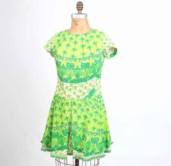 Vintage Lilly Pulitzer Dress: 60S Green, Lilly Pulitzer, Dress, Girly Fashion