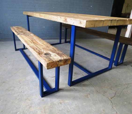 Here is our 6-8 seater dining table in Blue We can paint our tables in any RAL colour and in Gloss,Satin or Matte Made from reclaimed timber and steel The