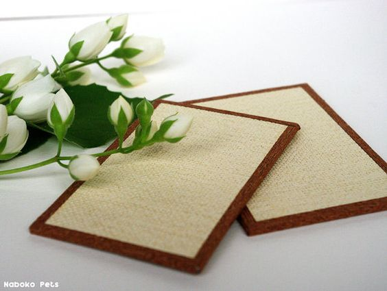 Tatami for Dollhouse / 2 Small Mats / 50 x 80 mm Miniature Japanese Mat / 1:12…