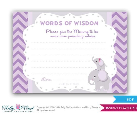 purple elephant words of wisdom advice card for baby shower printable