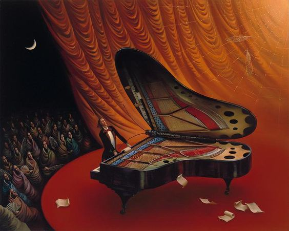 "Moonlight Sonata - Final Movement. The passionate ardor of pianist ""inspires"" the instrument, the folds of curtain, and figures of spectators, creating a sensation of imminent takeoff. The music reaches its peak emphasized by the solemn red coloring of the painting. Its streams soar to the concave mirror of the moon, and, focused by it, return to the scene. The reflected flow carries the magical energy of the moon, causing mysterious transformations all around. We see as the spectators are…"