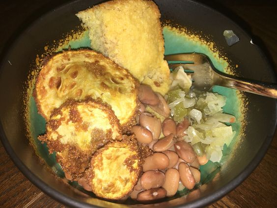 Beans, cornbread, fried squash and some chow chow