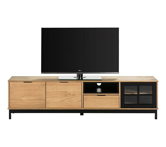 Meuble Tv Style Atelier Bronx 3 Portes 1 Tiroir Bois Massif Et Noir En 2020 Tiroir Bois Meuble Tv Et Table Basse Meuble Tv