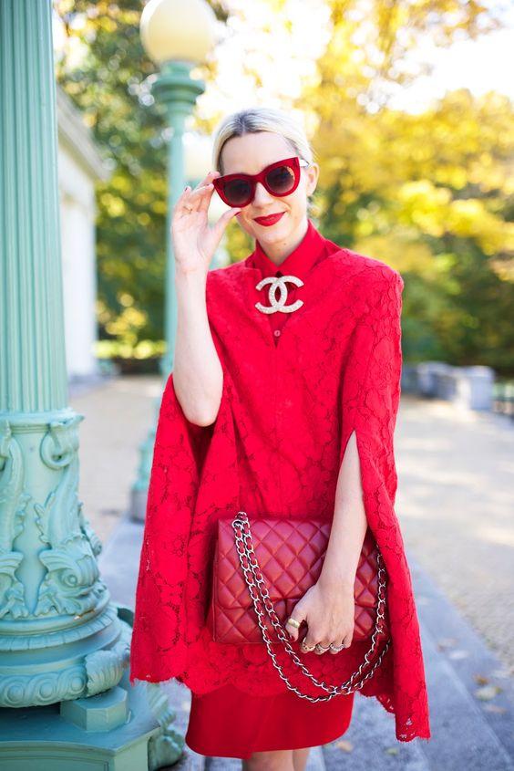Robe rouge habillée avec sac rouge