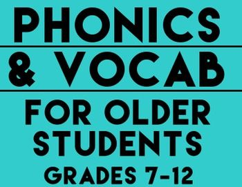 Phonics and Vocabulary Practice for Older Students: RTI: NO PREP:  This packet is perfect for any middle or high school student with reading disabilities or any student who struggles with basic decoding or word recognition. As a 6th-12th grade Special Education teacher, I struggled to engage older students in any available phonics or decoding materials since the large bubble letters and pictures made my students shut down. These WKSHTS challenge and engage older students #phonics #readingRTI