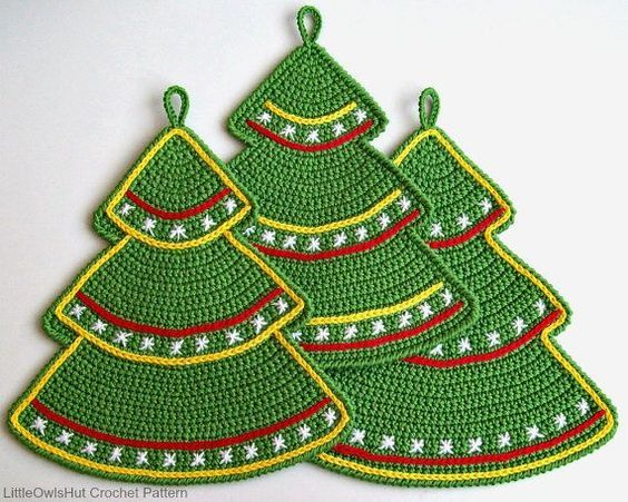 087 Crochet Pattern Christmas Tree Decor Potholder Etsy Christmas Crochet Crochet Patterns Crochet Christmas Trees