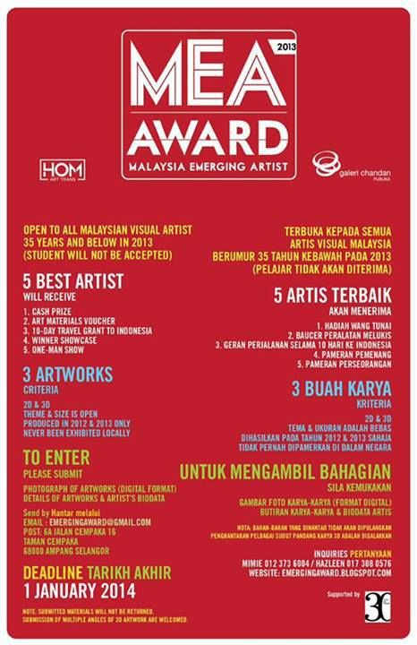 Malaysian Emerging Artist Award by Galeri Chandan and HOM Art Trans are calling for entries!