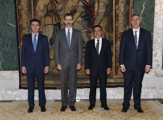 El Rey Felipe VI recibe al presidente de Renault-Nissan, Carlos Ghosn +http://brml.co/1M3N0Az