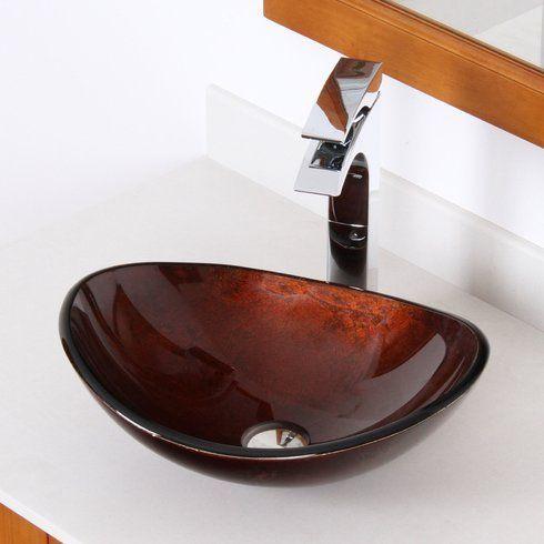 Elite Hand Painted Glass Oval Vessel Bathroom Sink Wayfair Glass Bathroom Vessel Sink Bathroom Glass Sink