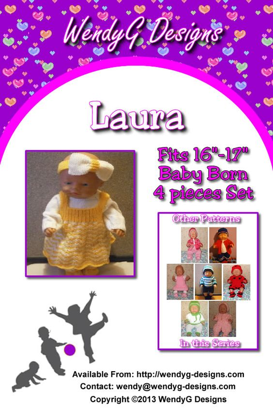 """****LAURA****  ***KNITTING PATTERN ONLY***  To fit 16-17"""" Baby born or similar size dolls  Pattern contains instructions for Dress, Jumper, Headband and Shoes with socks attached."""