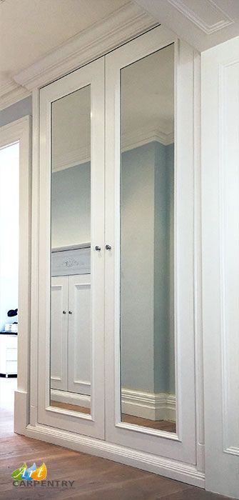 Laundry Wardrobe With Mirrored Doors Made From Special 30 Minutes Fire Rated Mdf Earl S Court French Closet Doors French Doors Interior Mirror Closet Doors